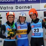 Победитель и призёры женских соревнований: Екатерина Лаврентьева, Эвелин Лентхайлер (Италия) и Грета Пинггера (Италия)