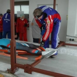 Тренировка сборной России по санному спорту