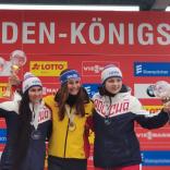 Серебро и бронза Кубка мира в женских одноместных санях