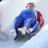 Соревнования двоек на заключительном этапе Кубка мира по саням в Сигулде