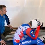 Виктория Демченко с тренером на старте
