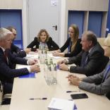 встреча министра спорта РФ Павла Колобкова, президента FIL Йозефа Фендта и президента ФССР Наталии Гарт